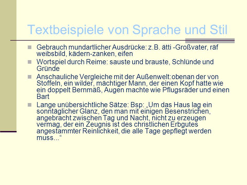 Textbeispiele von Sprache und Stil