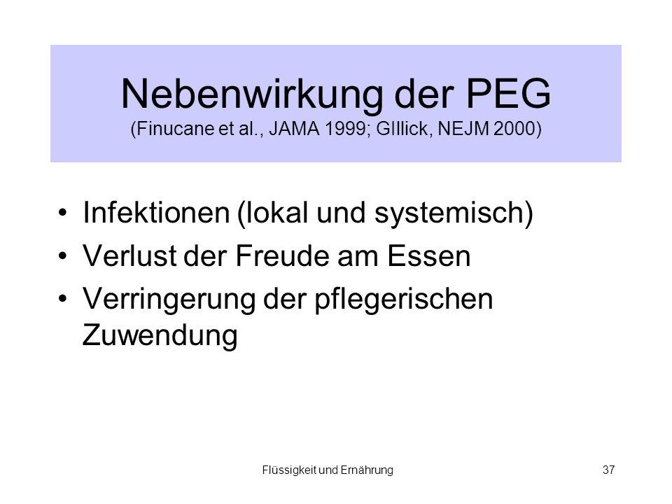Nebenwirkung der PEG (Finucane et al., JAMA 1999; GIllick, NEJM 2000)