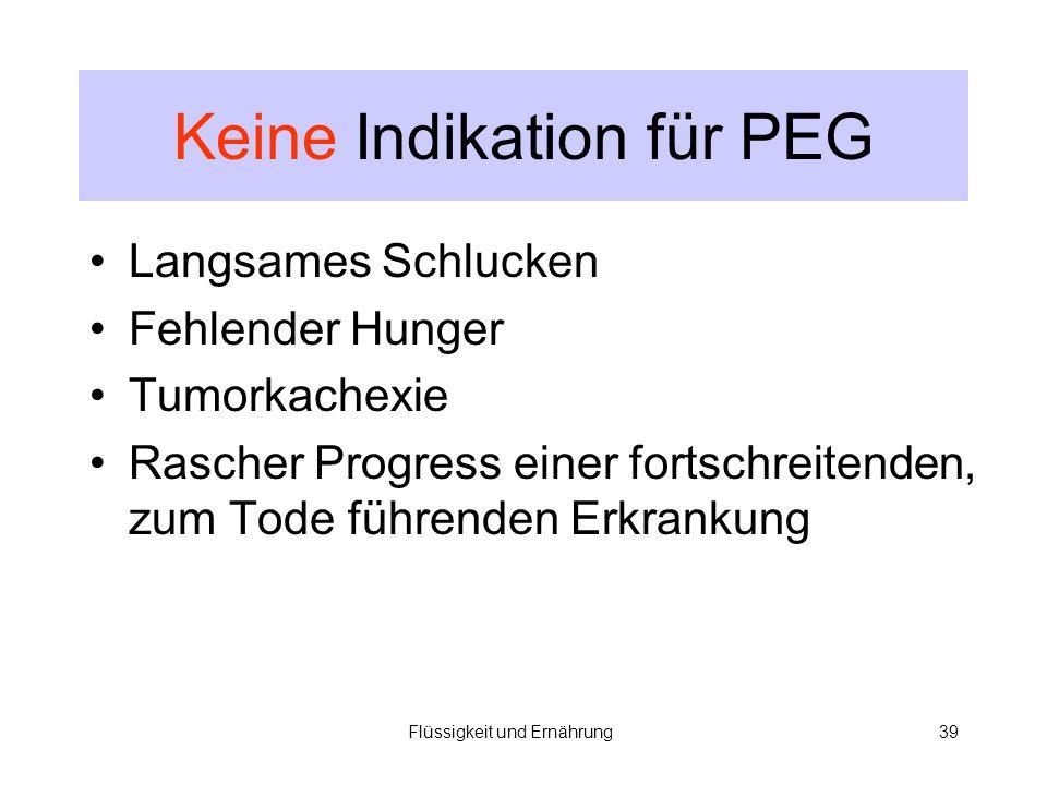 Keine Indikation für PEG