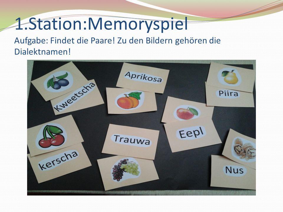 1. Station:Memoryspiel Aufgabe: Findet die Paare