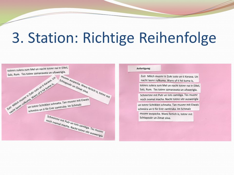 3. Station: Richtige Reihenfolge