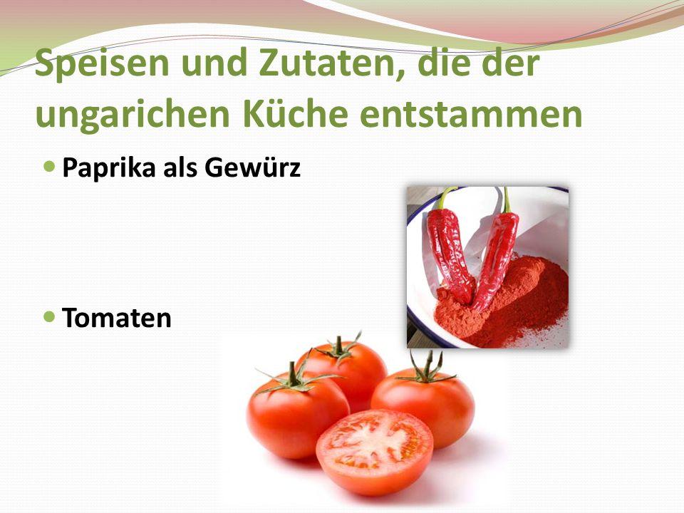Speisen und Zutaten, die der ungarichen Küche entstammen