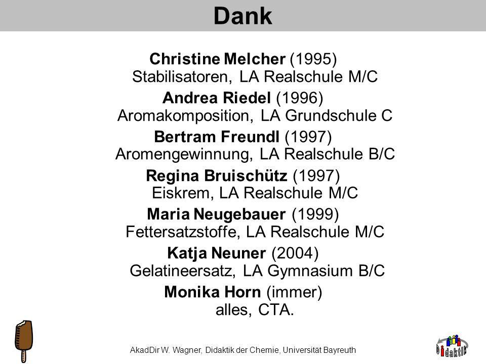 Dank Christine Melcher (1995) Stabilisatoren, LA Realschule M/C