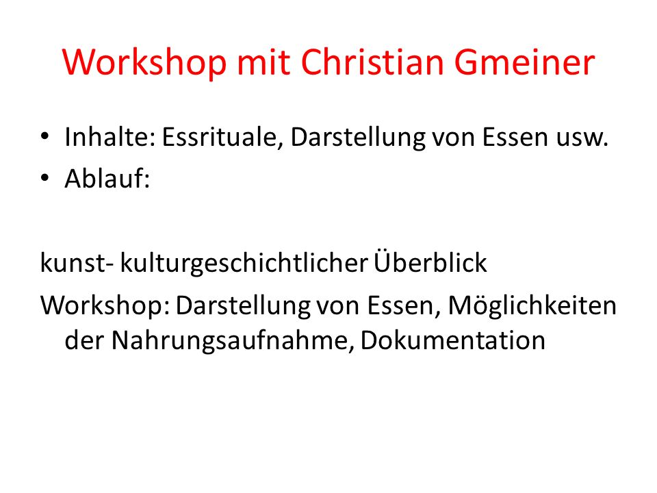 Workshop mit Christian Gmeiner