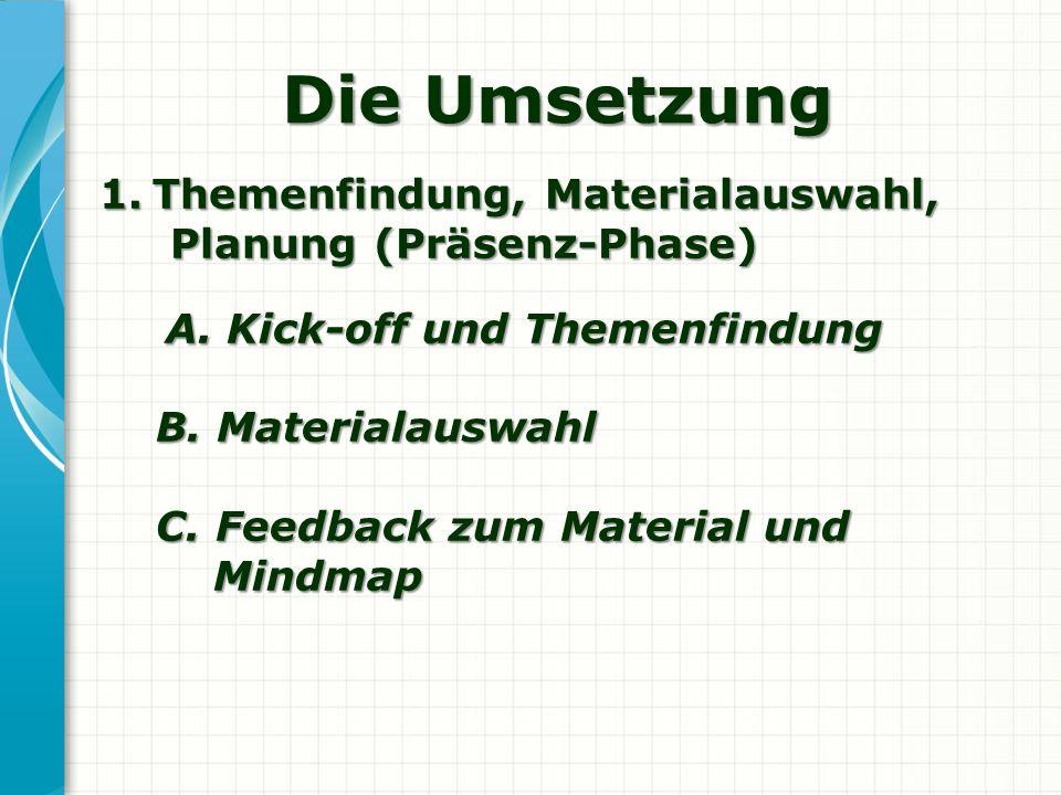 Die Umsetzung Themenfindung, Materialauswahl, Planung (Präsenz-Phase)