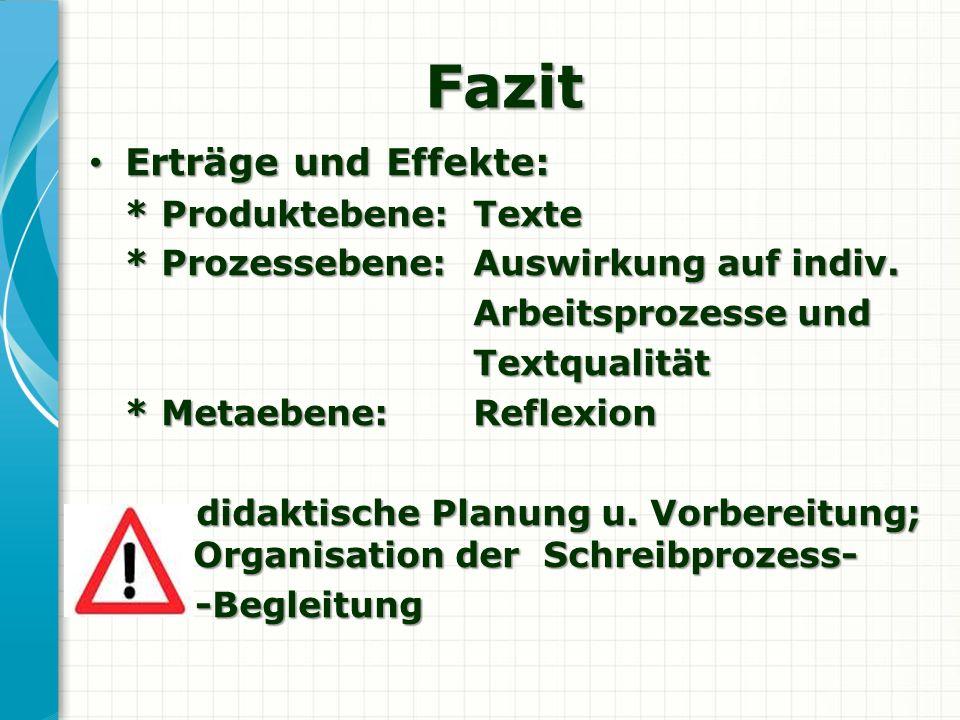 Fazit Erträge und Effekte: * Produktebene: Texte