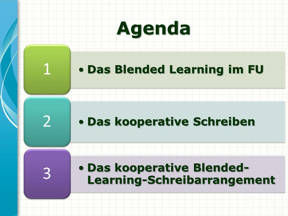 Agenda 1 2 3 Das Blended Learning im FU Das kooperative Schreiben