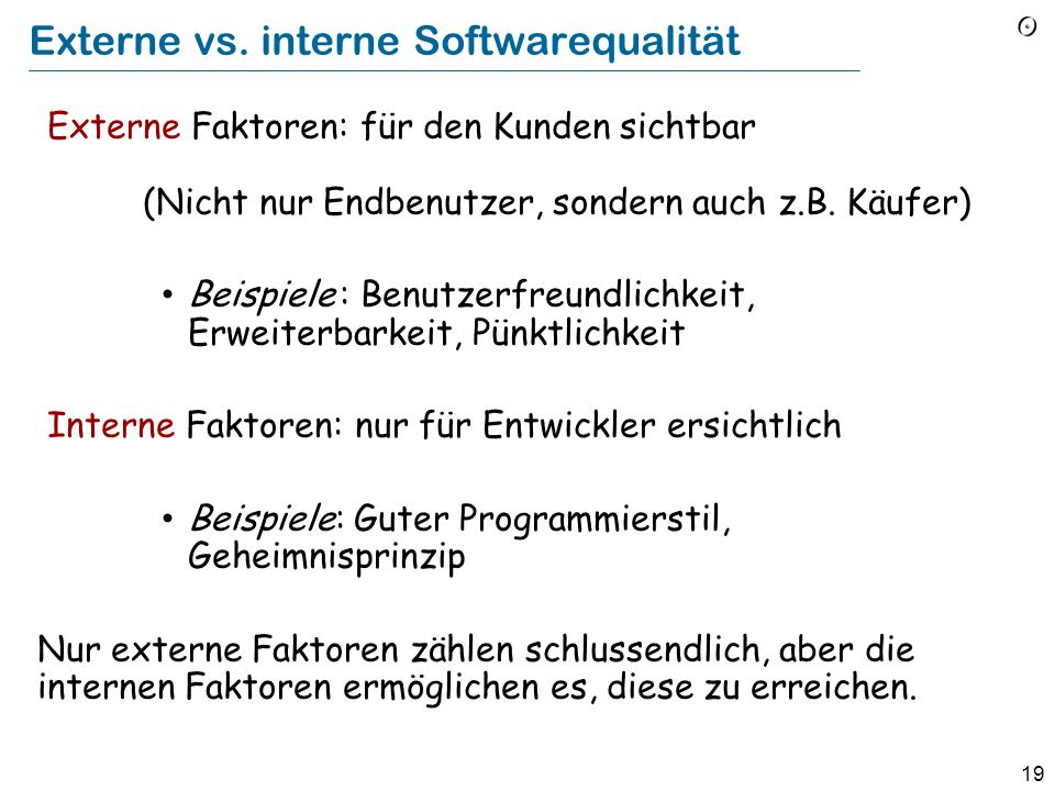Externe vs. interne Softwarequalität
