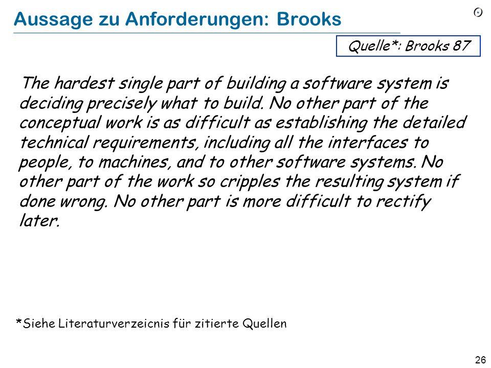 Aussage zu Anforderungen: Brooks