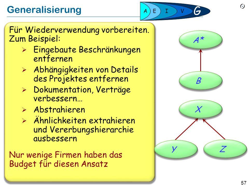 G Generalisierung Für Wiederverwendung vorbereiten. Zum Beispiel: