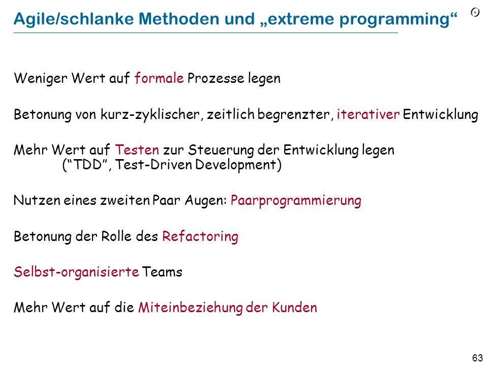 """Agile/schlanke Methoden und """"extreme programming"""