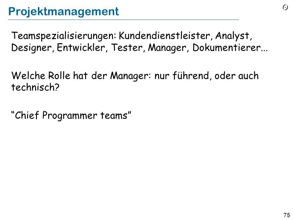 Projektmanagement Teamspezialisierungen: Kundendienstleister, Analyst, Designer, Entwickler, Tester, Manager, Dokumentierer...