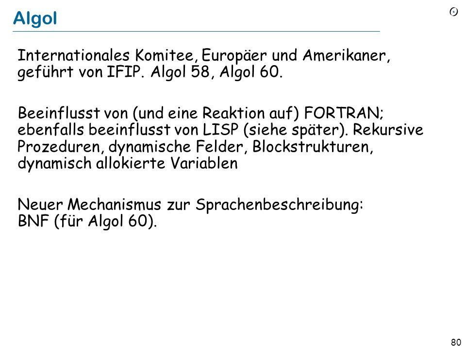Algol Internationales Komitee, Europäer und Amerikaner, geführt von IFIP. Algol 58, Algol 60.