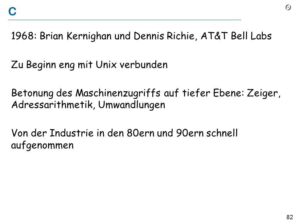 C 1968: Brian Kernighan und Dennis Richie, AT&T Bell Labs