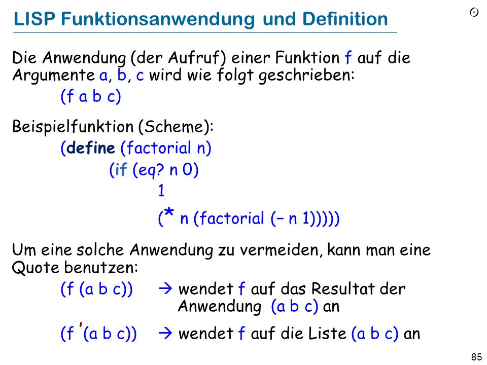 LISP Funktionsanwendung und Definition