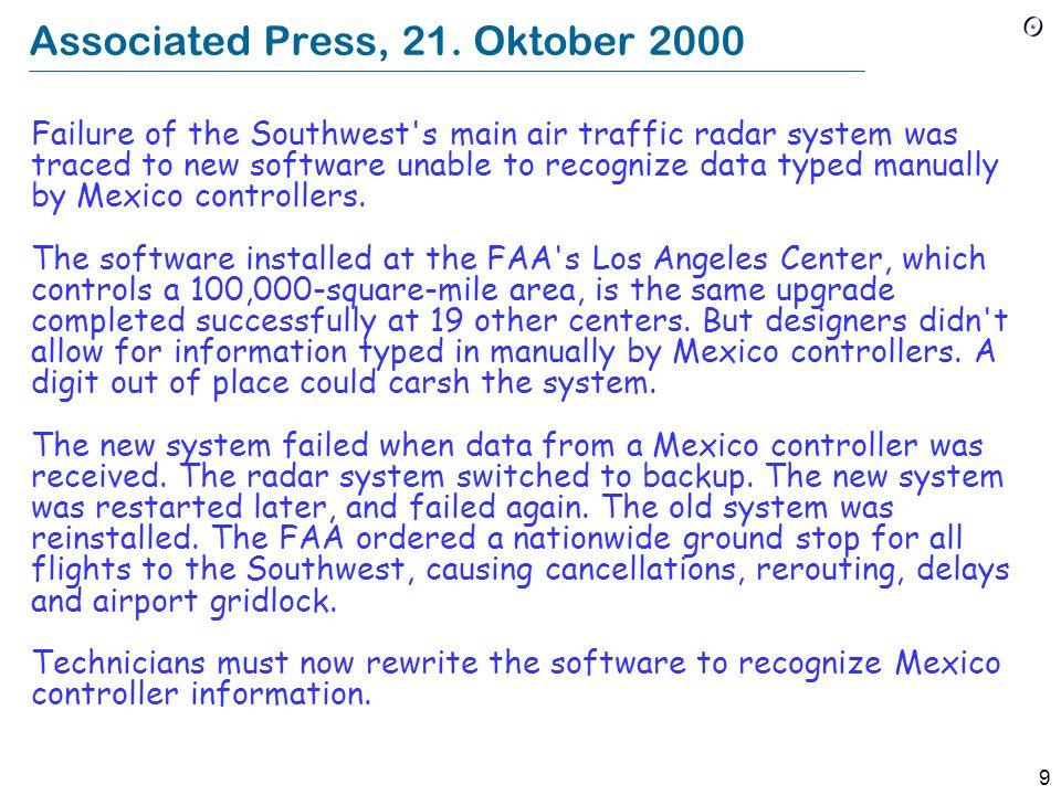 Associated Press, 21. Oktober 2000