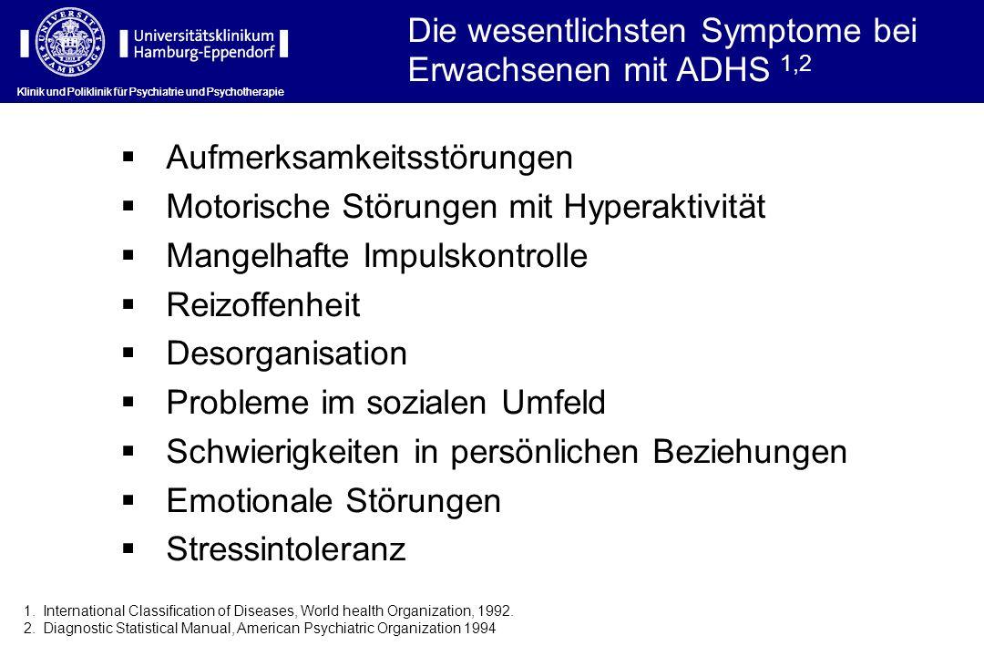 Die wesentlichsten Symptome bei Erwachsenen mit ADHS 1,2