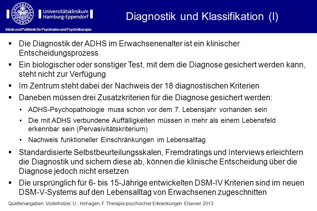 Diagnostik und Klassifikation (I)