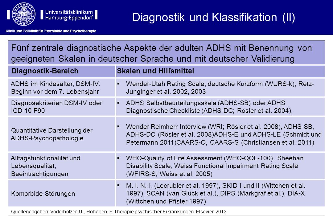 Diagnostik und Klassifikation (II)