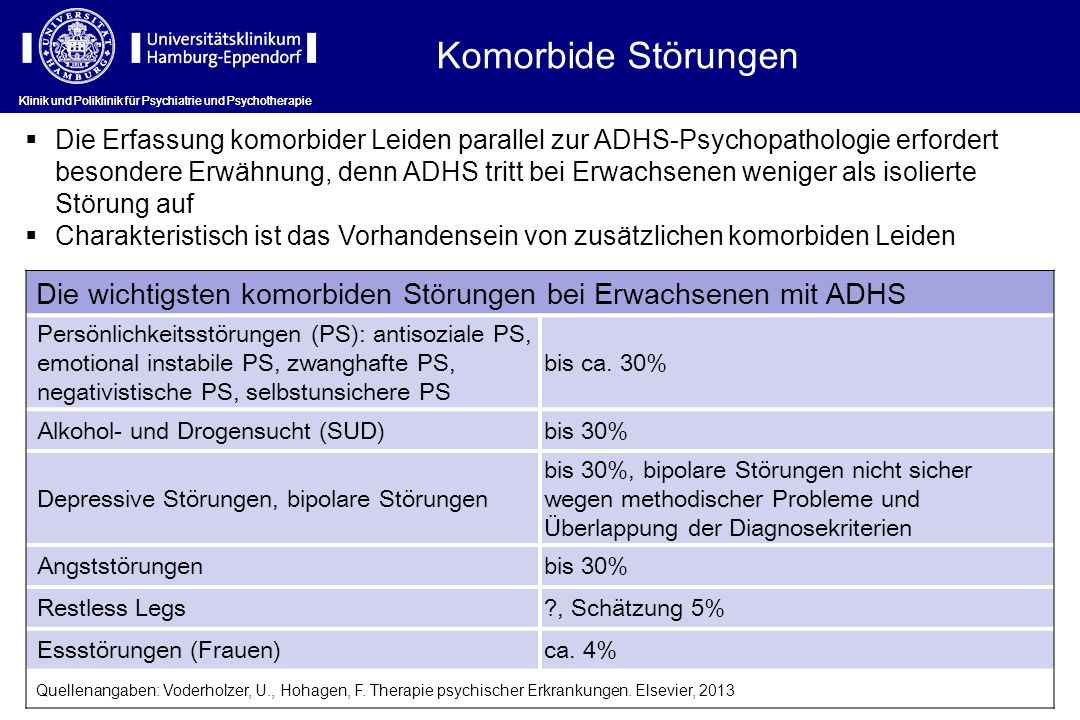 Komorbide Störungen Klinik und Poliklinik für Psychiatrie und Psychotherapie.