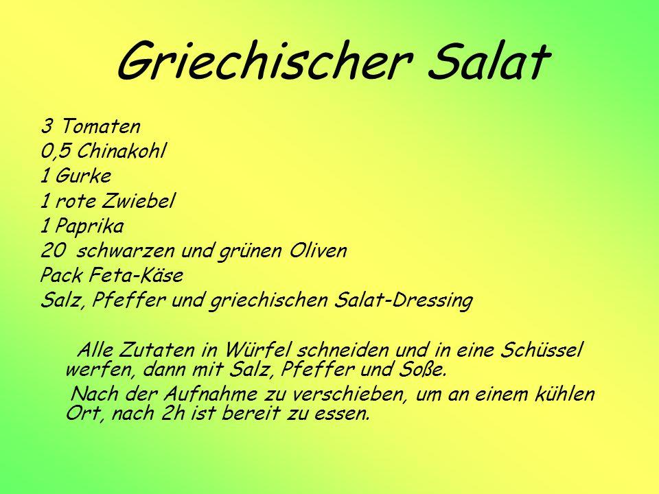 Griechischer Salat 3 Tomaten 0,5 Chinakohl 1 Gurke 1 rote Zwiebel