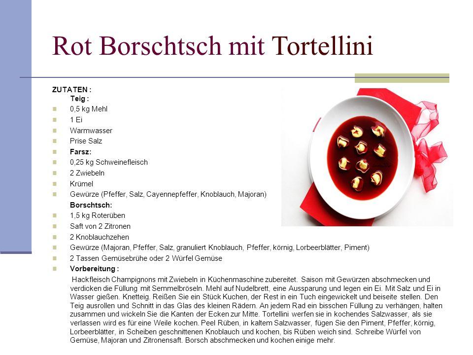 Rot Borschtsch mit Tortellini