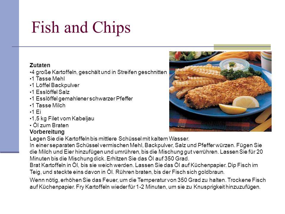 Fish and Chips Zutaten. 4 große Kartoffeln, geschält und in Streifen geschnitten. 1 Tasse Mehl. 1 Löffel Backpulver.