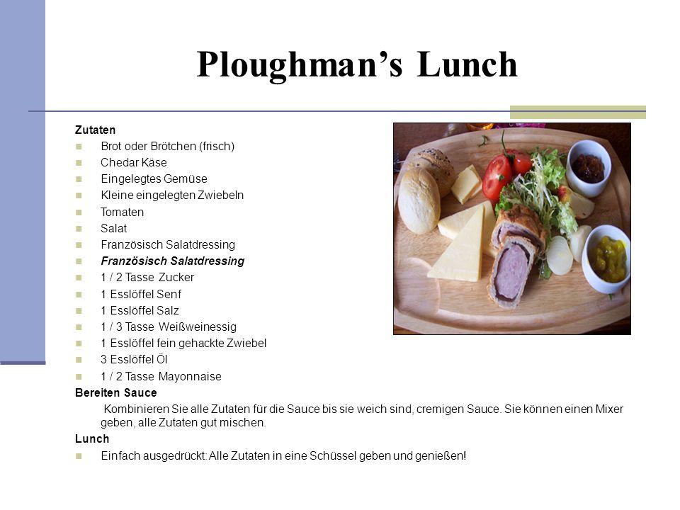 Ploughman's Lunch Zutaten Brot oder Brötchen (frisch) Chedar Käse