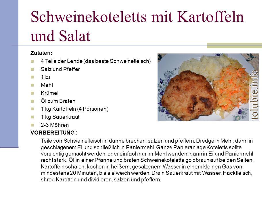 Schweinekoteletts mit Kartoffeln und Salat