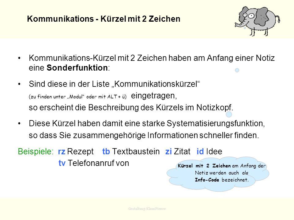 Kommunikations - Kürzel mit 2 Zeichen