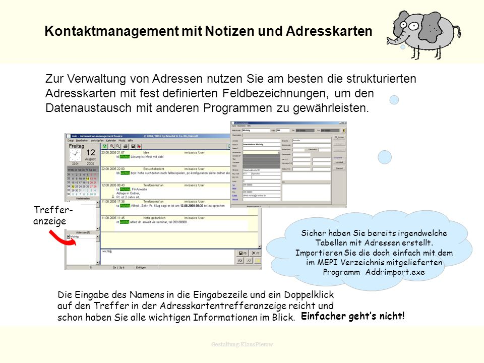 Kontaktmanagement mit Notizen und Adresskarten