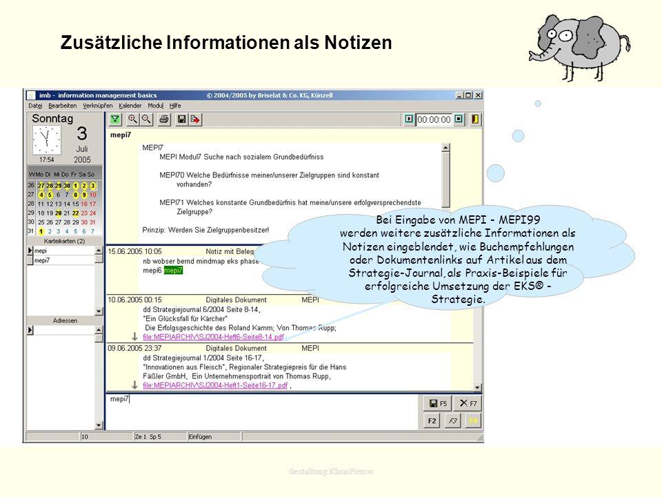 Zusätzliche Informationen als Notizen