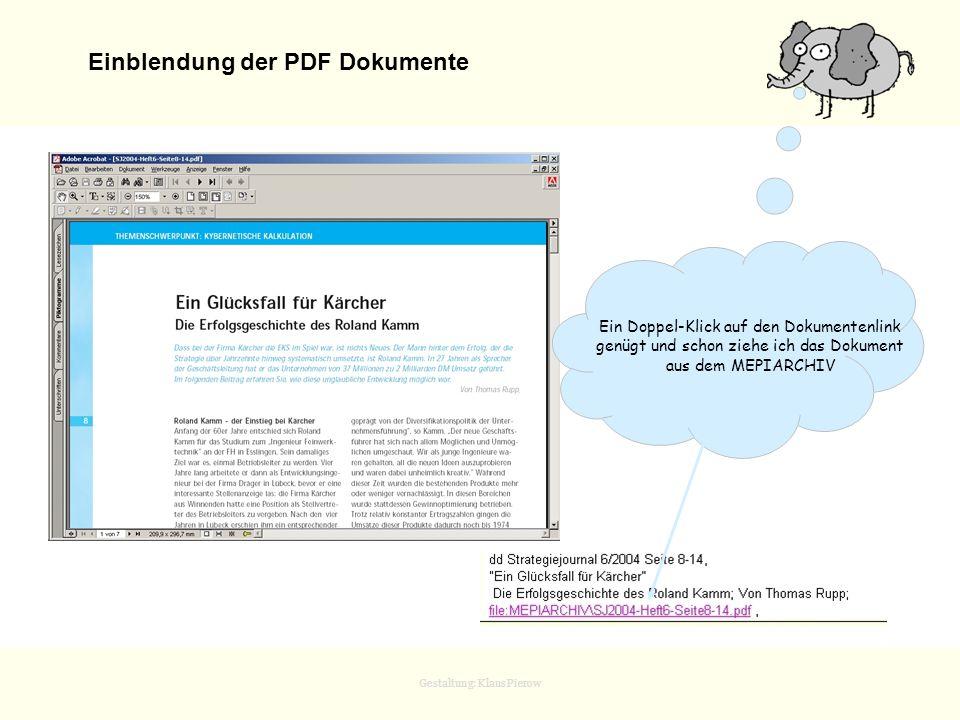 Einblendung der PDF Dokumente