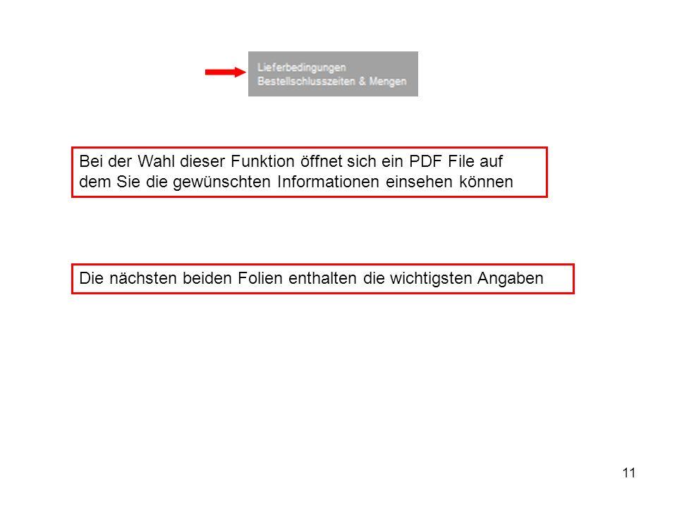 Bei der Wahl dieser Funktion öffnet sich ein PDF File auf dem Sie die gewünschten Informationen einsehen können