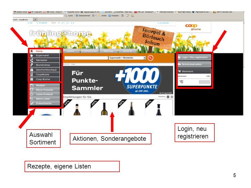 Login, neu registrieren
