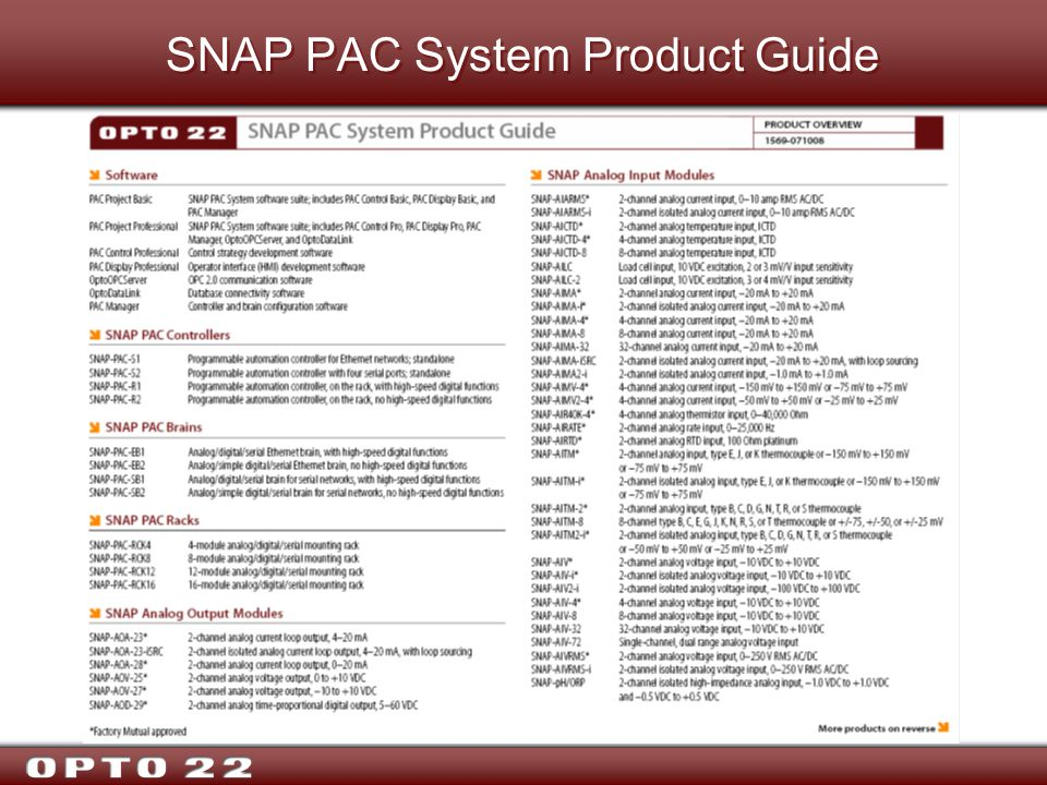 SNAP PAC System Product Guide