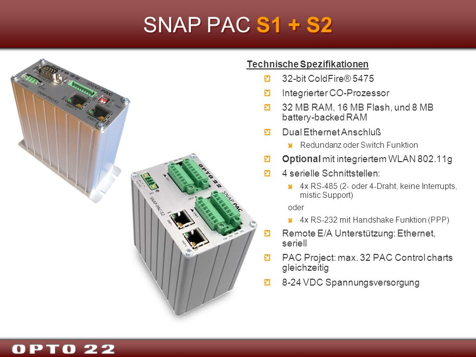 SNAP PAC S1 + S2 Technische Spezifikationen 32-bit ColdFire® 5475
