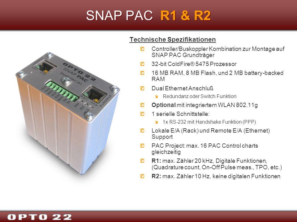 SNAP PAC R1 & R2 Technische Spezifikationen