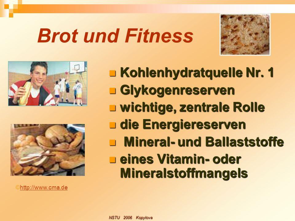 Brot und Fitness Kohlenhydratquelle Nr. 1 Glykogenreserven