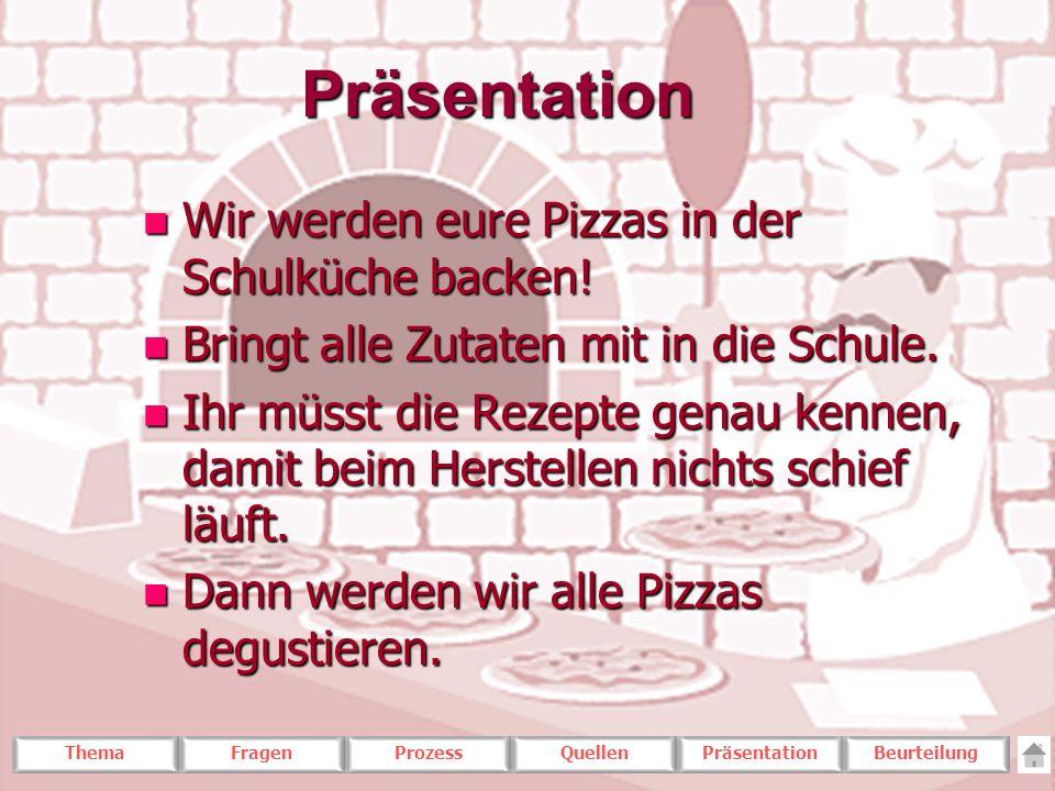 Präsentation Wir werden eure Pizzas in der Schulküche backen!