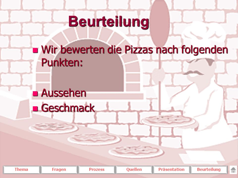 Beurteilung Wir bewerten die Pizzas nach folgenden Punkten: Aussehen