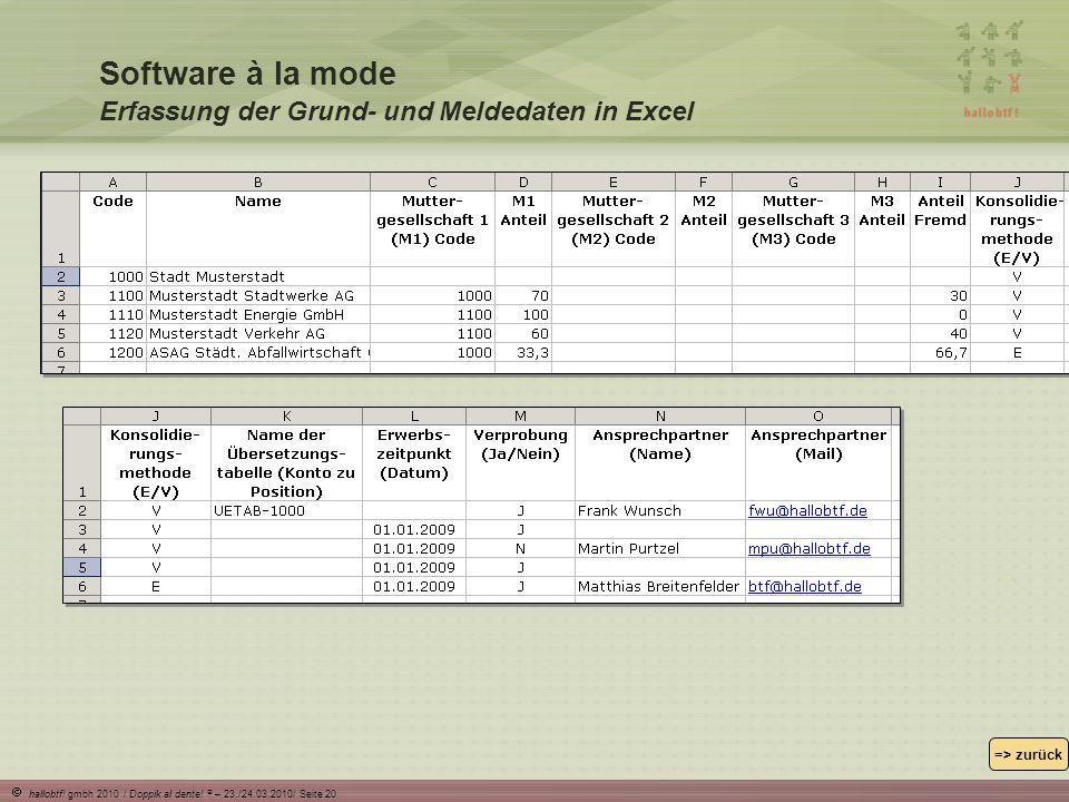 Software à la mode Erfassung der Grund- und Meldedaten in Excel