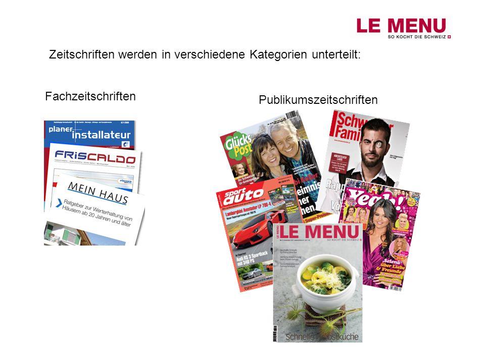 Zeitschriften werden in verschiedene Kategorien unterteilt: