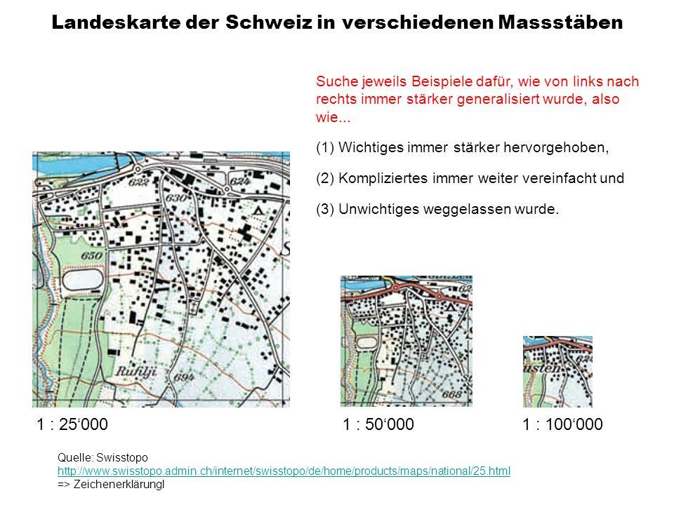 Landeskarte der Schweiz in verschiedenen Massstäben
