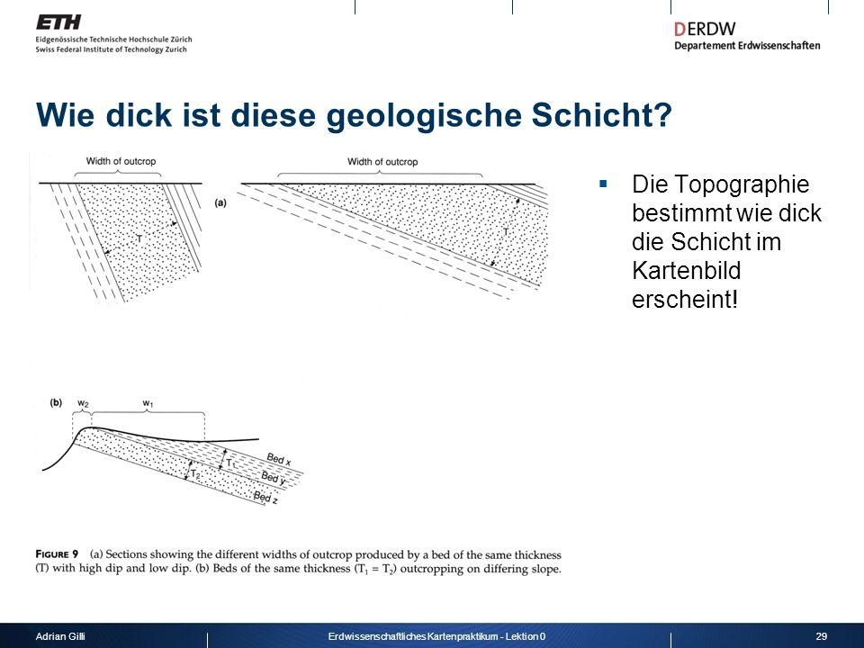 Wie dick ist diese geologische Schicht