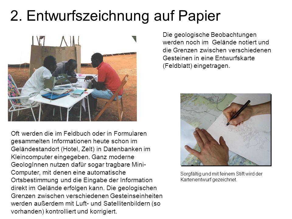 2. Entwurfszeichnung auf Papier