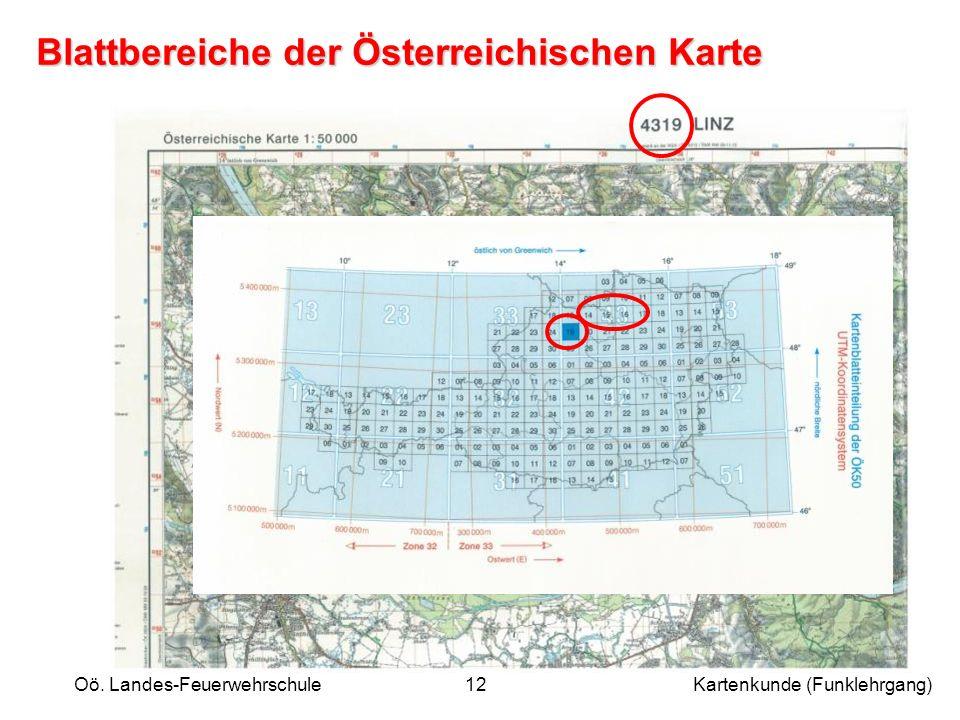 Blattbereiche der Österreichischen Karte