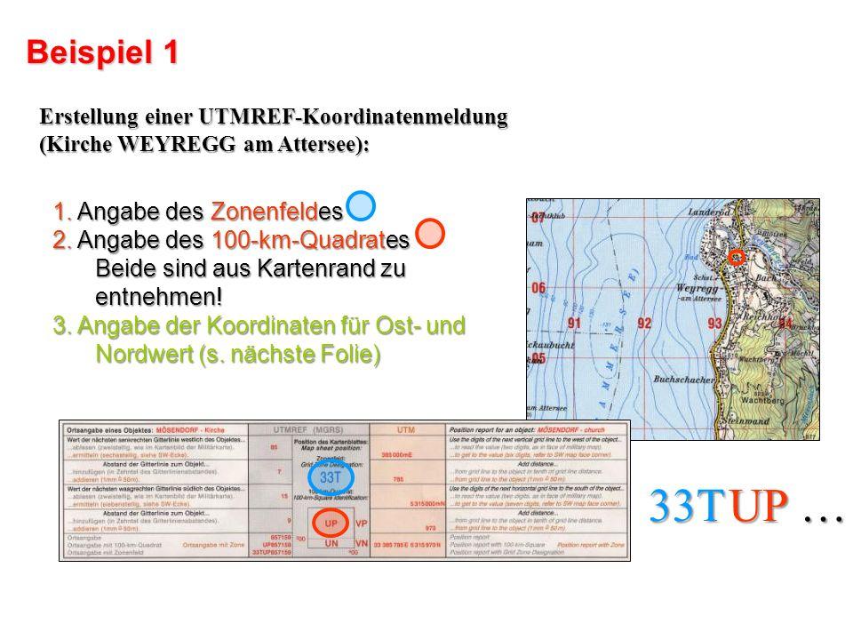 33T UP … Beispiel 1 1. Angabe des Zonenfeldes