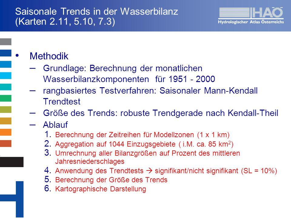 Saisonale Trends in der Wasserbilanz (Karten 2.11, 5.10, 7.3)