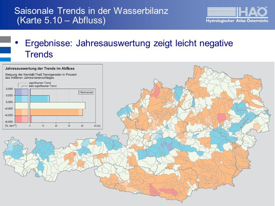 Saisonale Trends in der Wasserbilanz (Karte 5.10 – Abfluss)